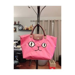 Authentic Longchamp Le Pliage Large Miaou Cat Tote